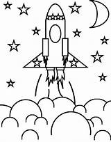 Rocket Coloring Space Ship Stars Pages Rockets Print sketch template