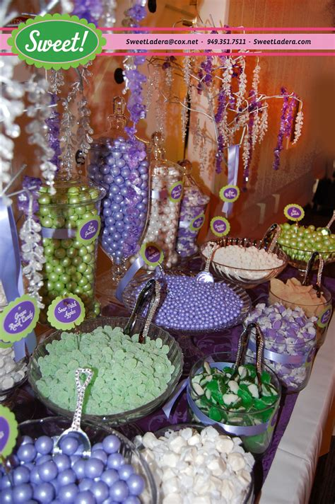Purple And Sage Green Candy Buffet At Strawberry Farms