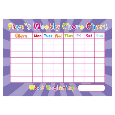 weekly chore chart personalised weekly chore charts teachers