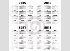 Calendar 2015 2016 2017 2018 Stock Vector Image 46283377