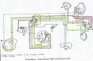 Proa  Vespa 150 Super Vbc1 And 150 Sprint Vlb1 Wiring Diagram