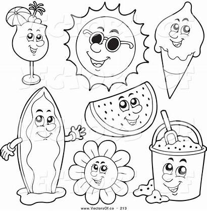 Summer Clipart Coloring Outlines Clipground Vector Digital