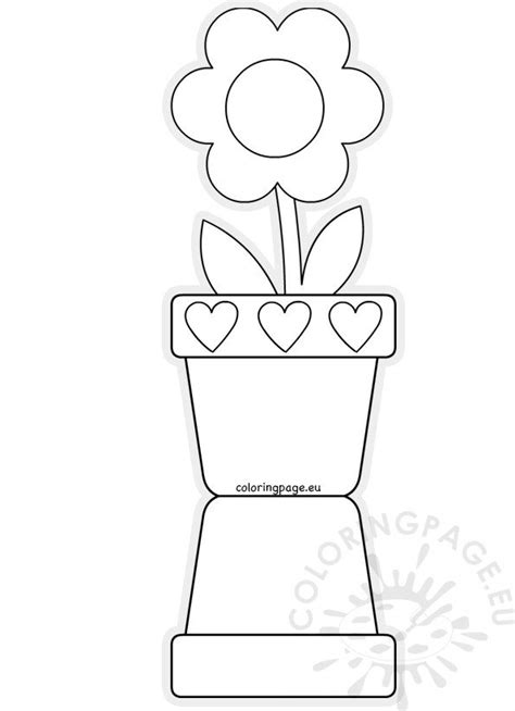 flower pot shaped card template mothers day coloring page