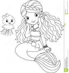 Cute Mermaid Coloring Page