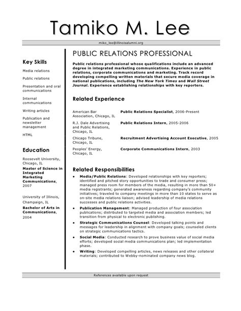 corporate communications resume template