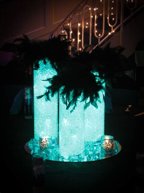 club themed centerpiece  aqua gems led lighting