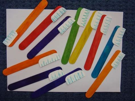 popsicle stick toothbrush craft crafts and worksheets 198 | 622332dcc9c200f4837588e2073c4428