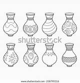 Coloring Vases Vector Template Shutterstock Pages Potters Wheel sketch template