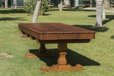 custom trestle natural wood outdoor table  redwood
