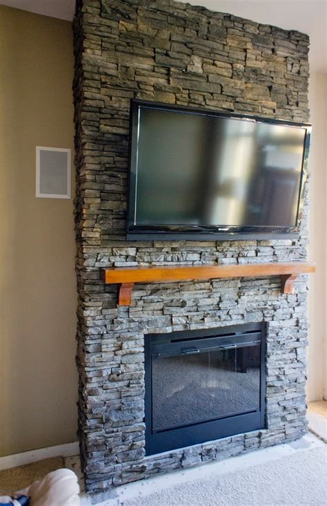 ideas stacked stone fireplace  classic interior heater