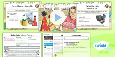 * New * Computing Online Safety Party Planners Year 3 Lesson