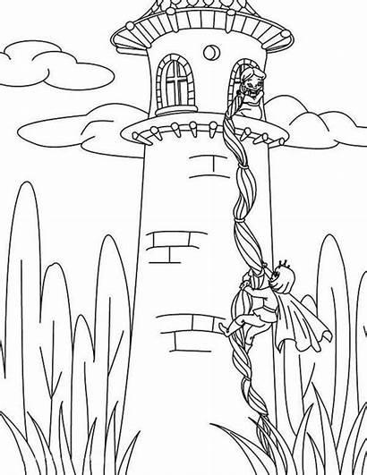 Rapunzel Coloring Disney Prince Tangled Princess Tower