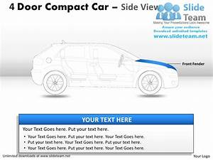 Compact 4 Door Blue Car Side View Power Point Slides And