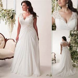 plus size wedding dresses cheap 2016 v neck pleats chiffon With cheap big girl wedding dresses