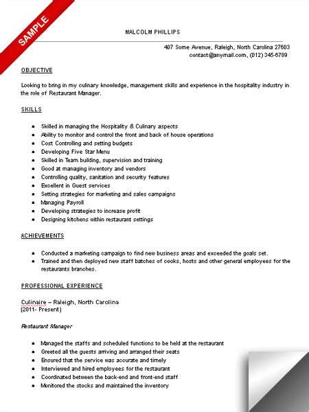 Restaurant Resume Objective by Restaurant Manager Resume Sle