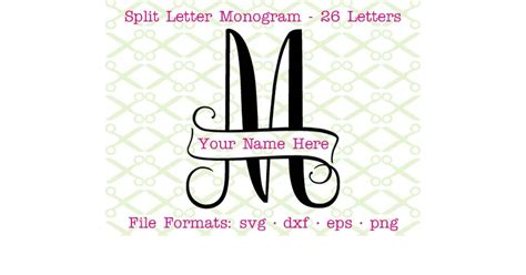 banner split monogram svg cricut silhouette files svg dxf eps png monogramsvgcom  svg designs
