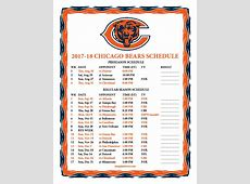 Printable 20172018 Chicago Bears Schedule