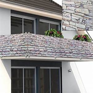 sichtschutz balkon terrasse windschutz markise With markise balkon mit tapete fliesenspiegel