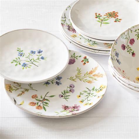 melamine dinnerware outdoor better homes gardens piece service wildflowers walmart