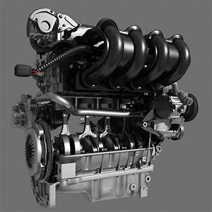 Car 4 Cylinder Engine 02 3d Model Max Fbx