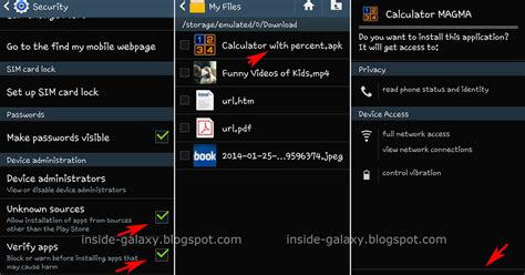 inside galaxy samsung galaxy s4 how to install apps from unknown sources apk file
