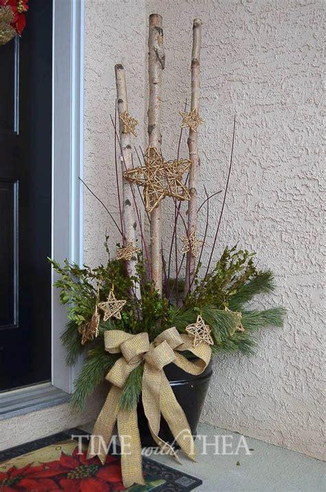 starry christmas arrangement  birch logs christmas