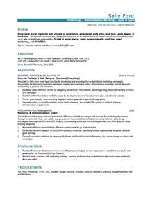 experience in marketing resume 10 marketing resume sles hiring managers will notice
