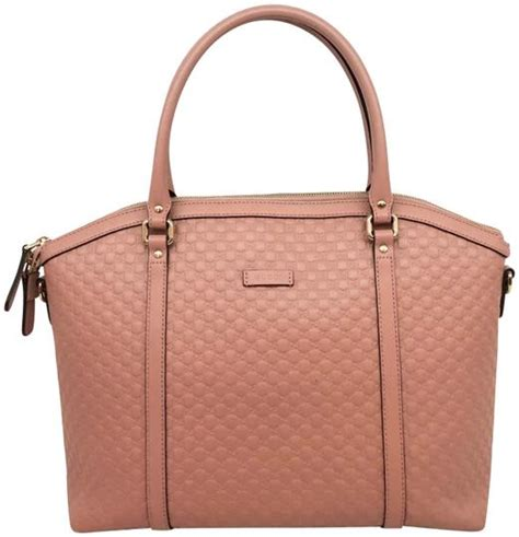 gucci monogram embossed tote pink leather shoulder bag