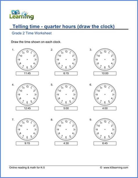 grade 2 telling time worksheets drawing a clock quarter