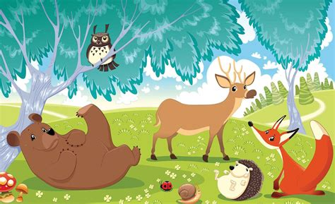 Animal Wallpaper Murals - animals in forest wall paper mural buy at ukposters