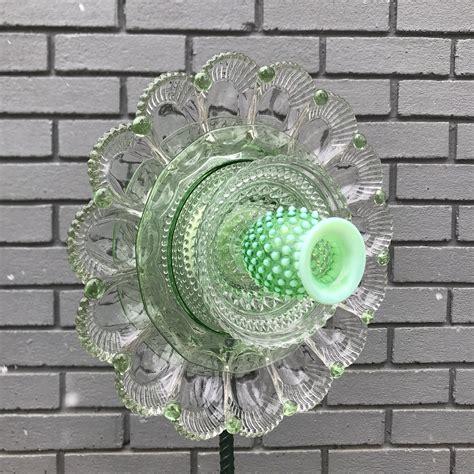 repurposed glass plate flowersuncatcherwall decorgarden art etsy   glass plate