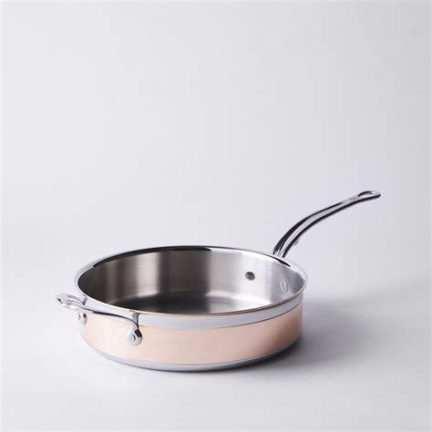 hestan copperbond induction copper saute pan  lid  quart  food