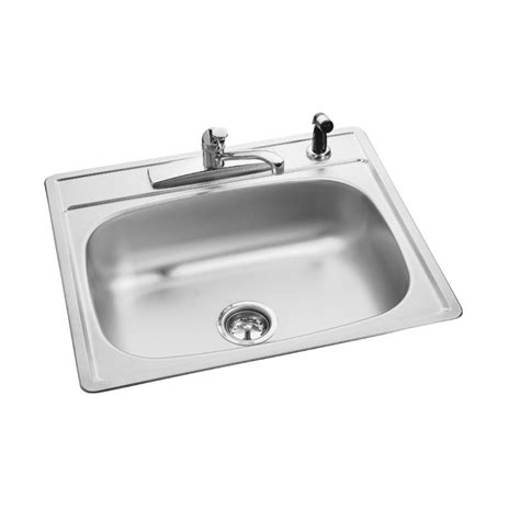 hole in sink basin shop kindred essential 25 in x 22 in single basin