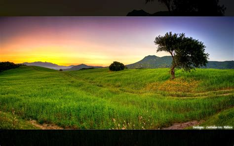 Sunset Landscapes Nature Fields Hdr Photography Photo