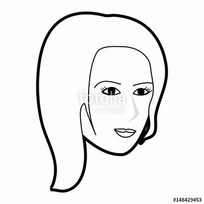Side Profile Face Woman Drawing Cartoon Silhouette
