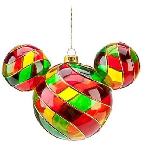 new disney world parks mickey icon stained glass christmas holiday ornament ebay