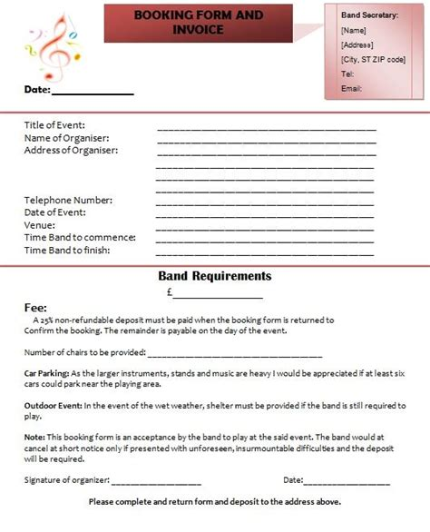 band invoice templates bill