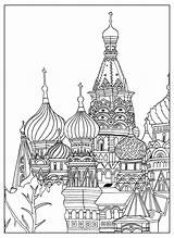 Coloring Cathedral Basil Moscow Saint Square Adult Architecture Sofian Adults Living sketch template