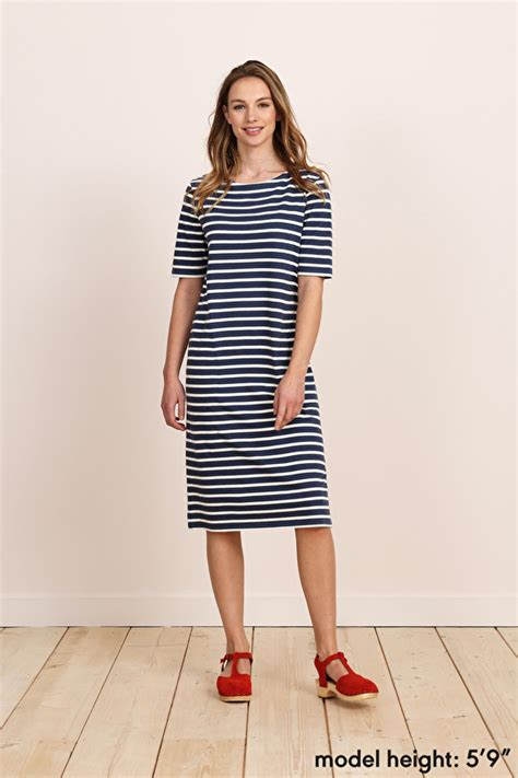Boat Neck Dress Organic Cotton by Organic Cotton Breton Striped Boat Neck Midi Sailor Dress