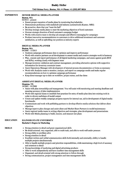 Media Planner Resume by Digital Media Planner Resume Sles Velvet