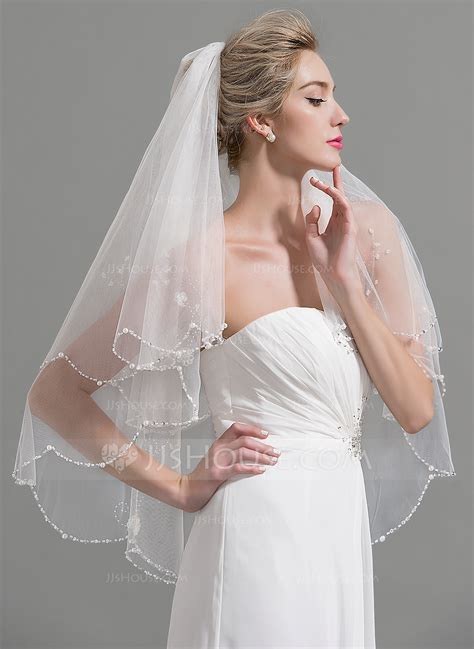 Two Tier Beaded Edge Fingertip Bridal Veils With Beading