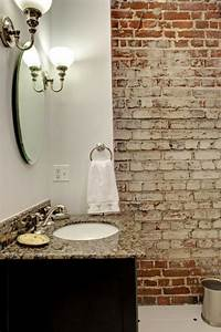 Mur Brique Blanc : la salle de bains en brique rouge en 20 exemples ~ Mglfilm.com Idées de Décoration