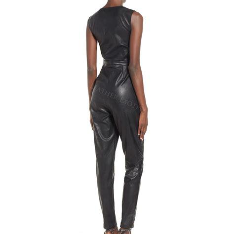 leather jumpsuits wrap front leather jumpsuit