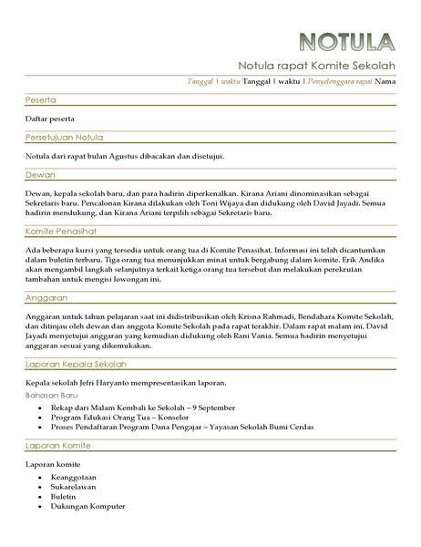 Contoh Notulen Seminar Kesehatan by Notula Rapat Klasik