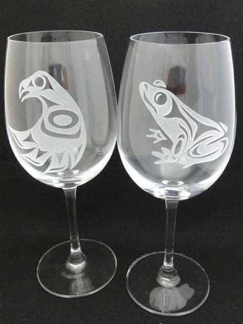 hand etched west coast native design wine glasses raven