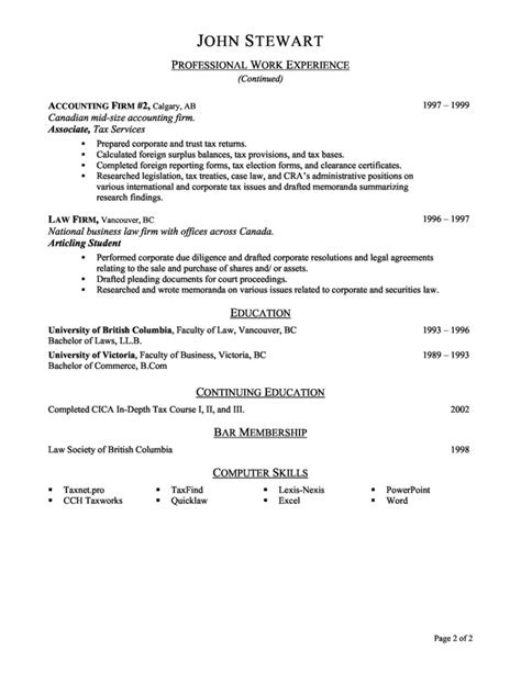 Sle Of Resume For Accounting Internship by Resume Categories Resume Badak