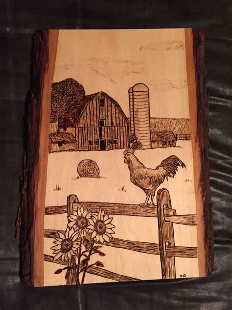 barn scene  rooster wood burnt art wood burning crafts