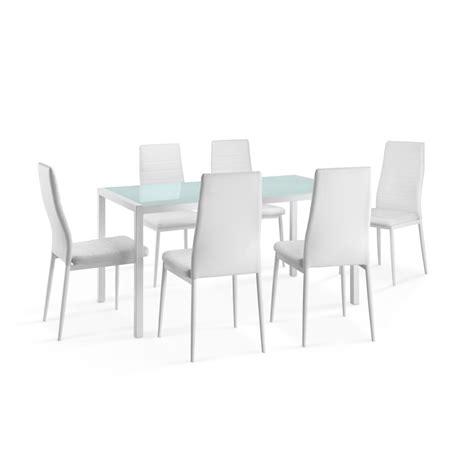 ensemble table a manger et chaise pas cher delamaison ensemble table à manger rectangulaire air métal et verre 6 chaises polyuéthane