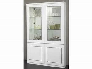 Vitrine Blanc Laqué : vitrine 2 portes chic laque blanc ~ Teatrodelosmanantiales.com Idées de Décoration