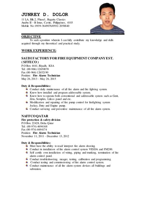 resume format fire alarm technician cover letter samples